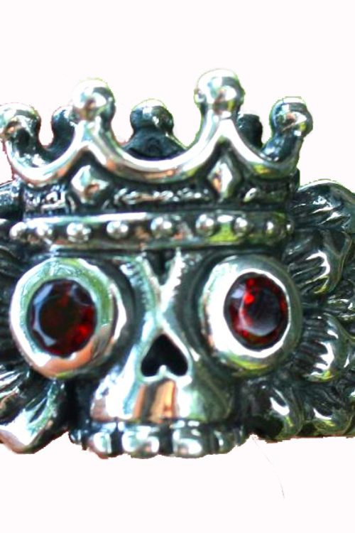 Winged King's Skull Silver Ring