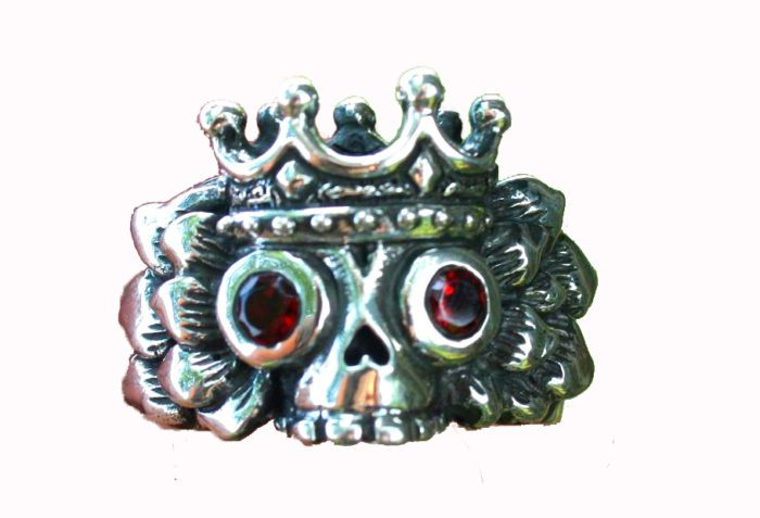Winged King's Skull Silver Ring