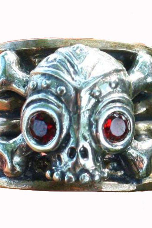 Skull & Crossbones With Stars Silver Ring