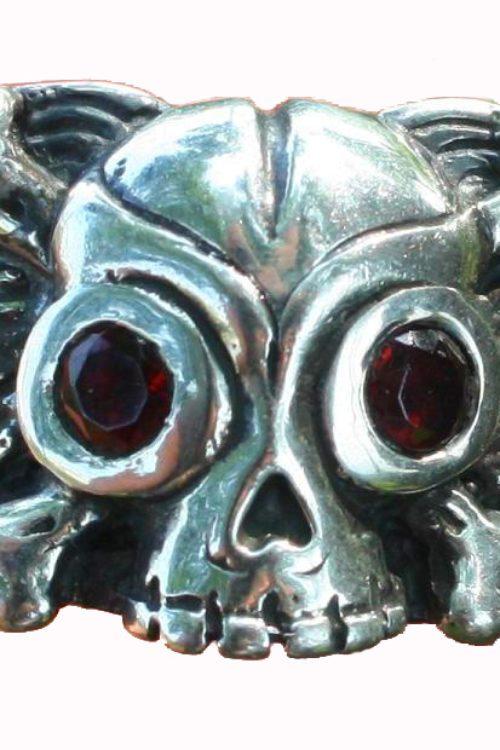 Winged Skull & Crossbones Silver Ring