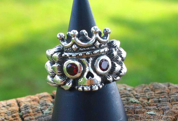 Winged King's Skull Silver Ring 5