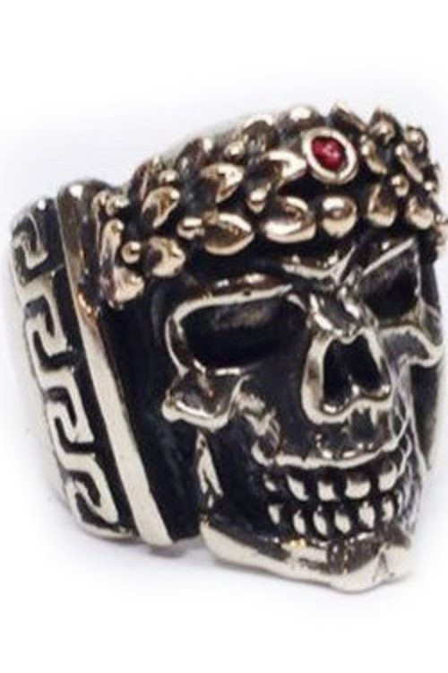 Caesar Head Skull Silver Ring
