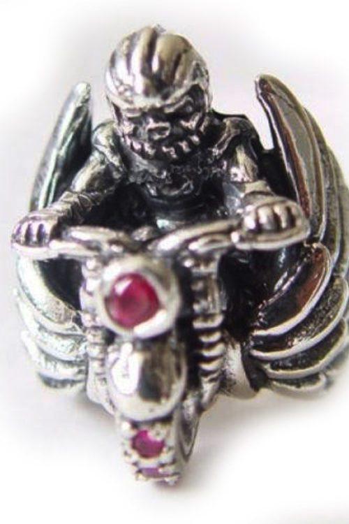 Biker Skull Silver Ring