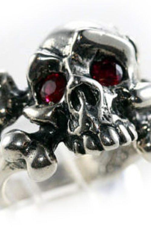 Mad Eye Skull Sterling Silver Ring