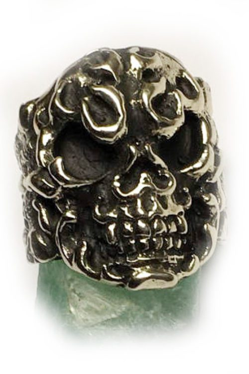 Fire Skull Sterling Silver Ring