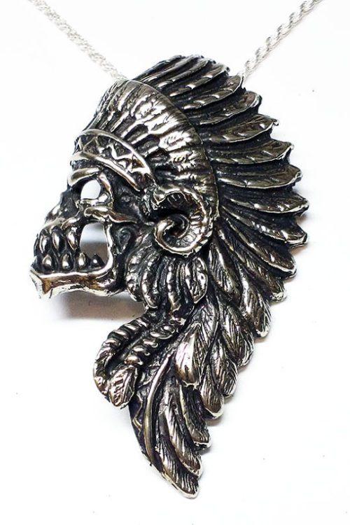 Apache Warrior Skull Silver Pendant