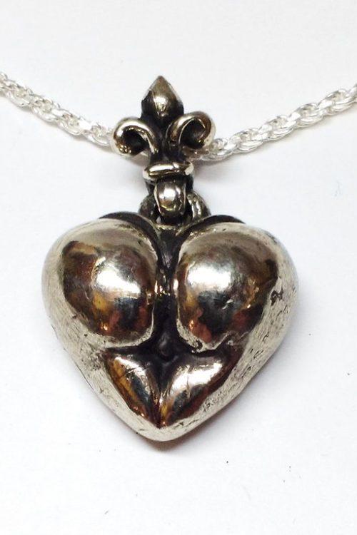 Ass Heart Silver Pendant