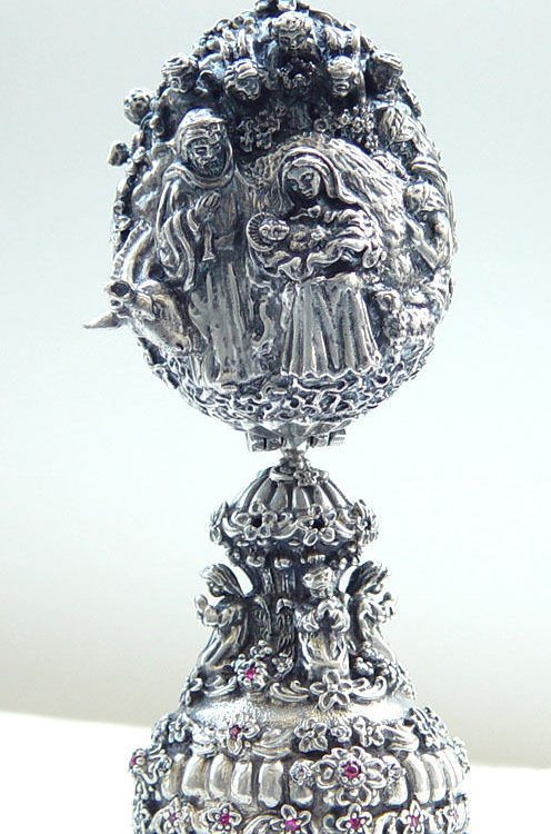 The Birth of Jesus Sterling Silver Egg
