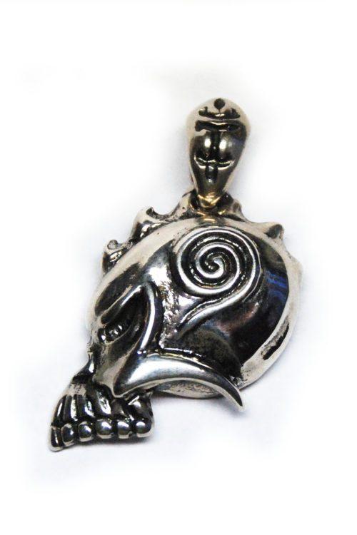 Warrior Skull Sterling Silver Pendant