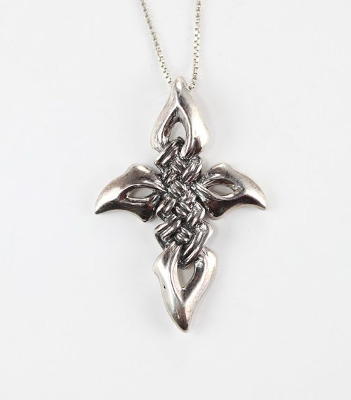 Eagle Eye Sterling Silver Cross Pendant