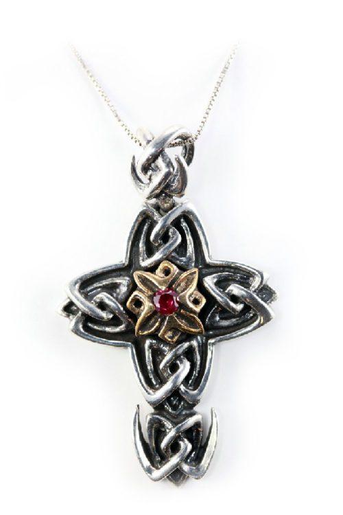 Wavy Sterling Silver & Bronze Cross