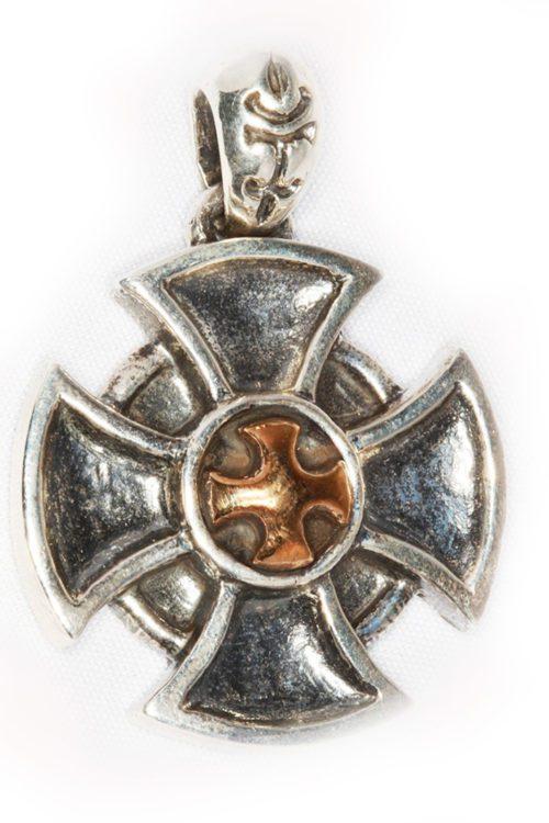 Cross Shield Sterling Silver & Bronze Pendant