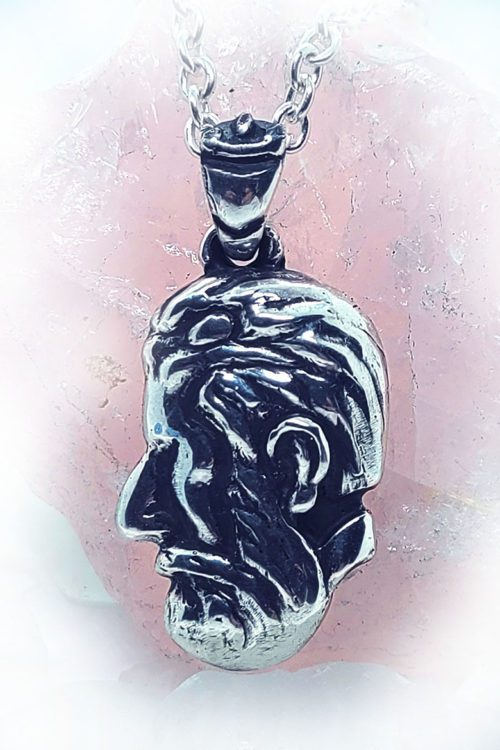 Lady Body Man Face Silver Pendant