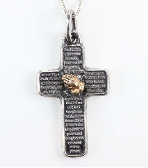 Lord's Prayer Silver Cross With Praying Hands