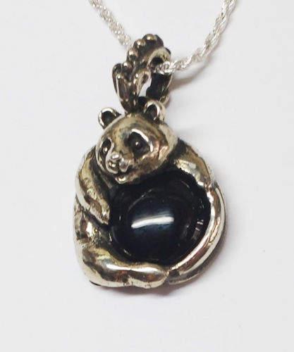 Panda With Onyx Stone Silver Pendant