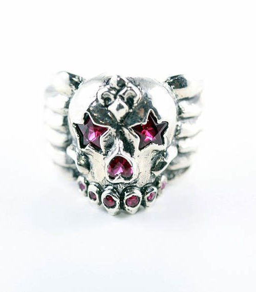 Skull and Star Sterling Silver Ring