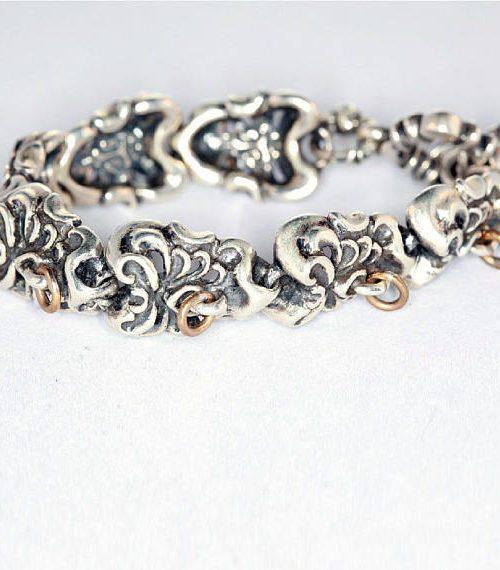 Sterling Silver & Bronze Tribal Skull Bracelet 3