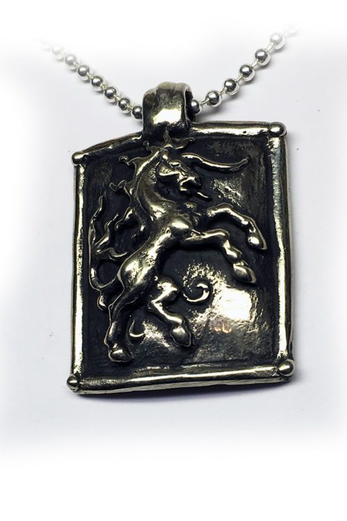 Horse Shield Sterling Silver Pendant