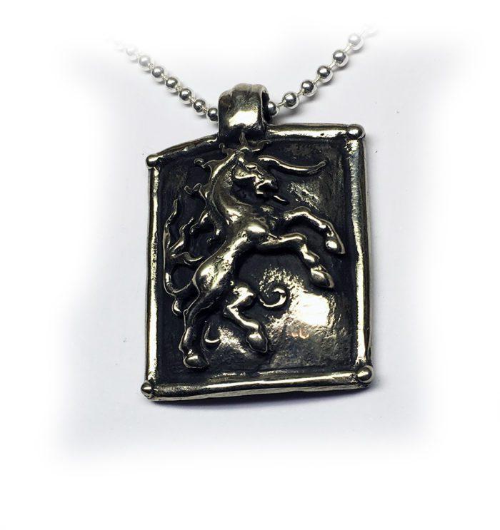 Horse Shield Sterling Silver Pendant