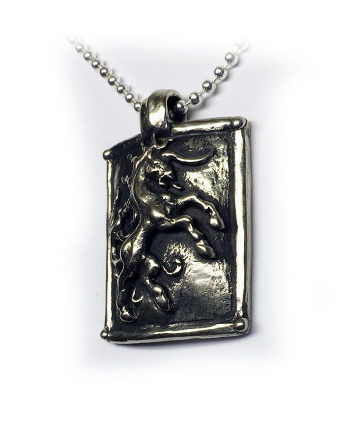 Horse Shield Sterling Silver Pendant 2