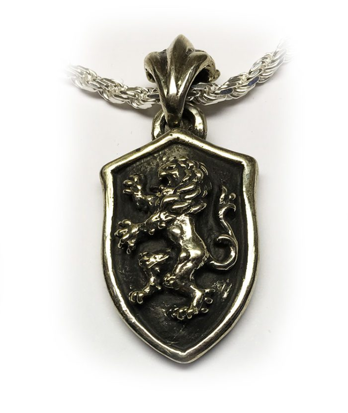 Lion Shield Sterling Silver Pendant