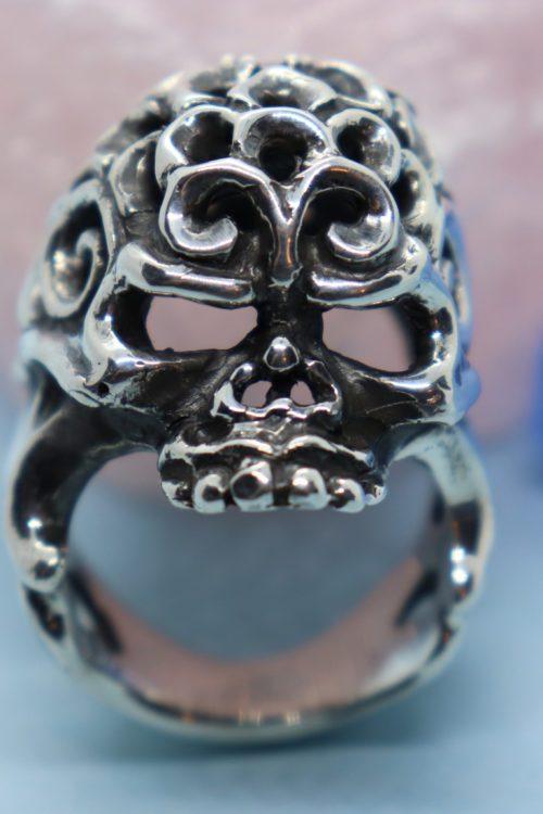 tribal skull silver ring 2