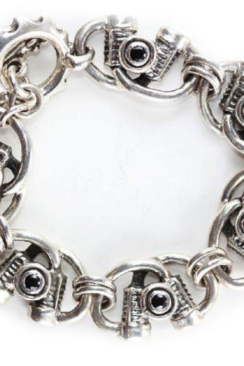 Sterling Silver Engine Motorbike Charm Bracelet