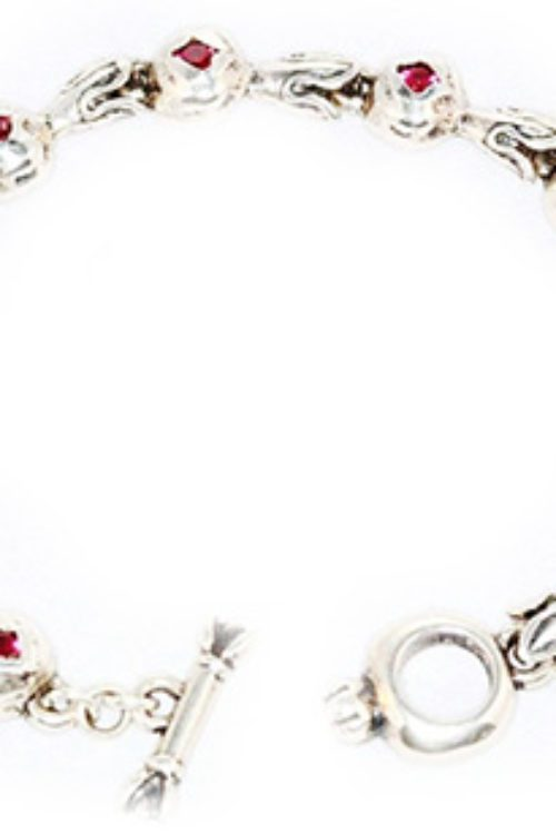 Sterling Silver Pomegranate V1 Charm Bracelet