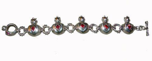 Sterling Silver Pomegranate V2 Charm Bracelet 3