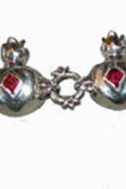 Sterling Silver Pomegranate V2 Charm Bracelet