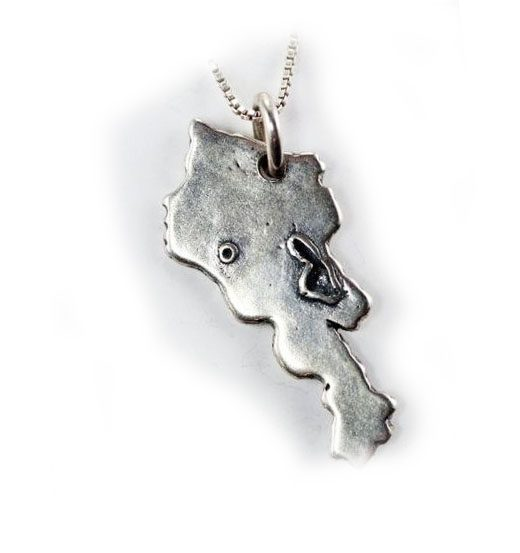 Map of Armenia Sterling Silver Pendant