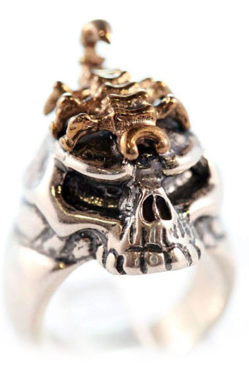 Sterling Silver & Bronze King Scorpion Ring