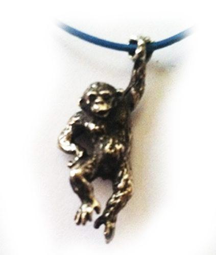 Hanging Monkey Silver Pendant v2