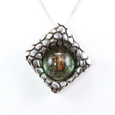 Amber and Silver Spider Pendant