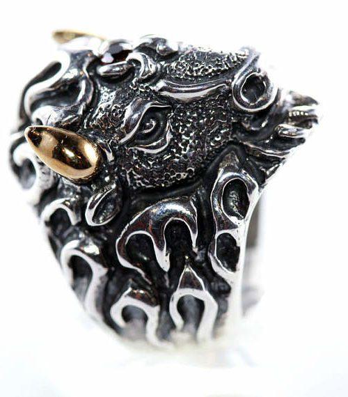 Bison Sterling Silver Ring
