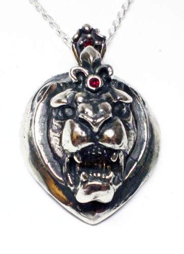 Heart Lion Silver Pendant