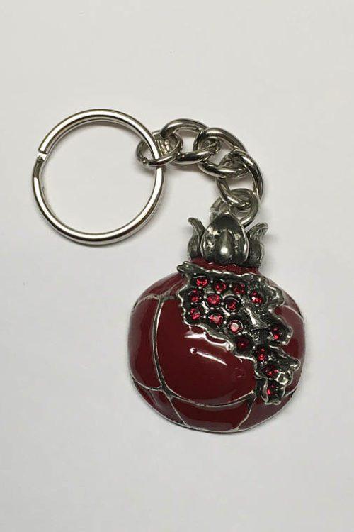 Map of Armenia Red Pomegranate Keychain Pewter v1