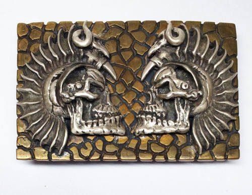 Warrior Skull Gago Bronze And Silver Belt Buckle