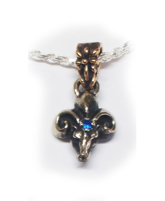 The Ram Silver Pendant with Sapphire V1 Big 2