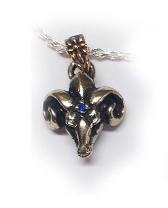 The Ram Silver Pendant with Sapphire V1 Big