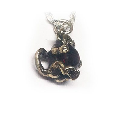 Baby Monkey With Heart Silver Pendant 4