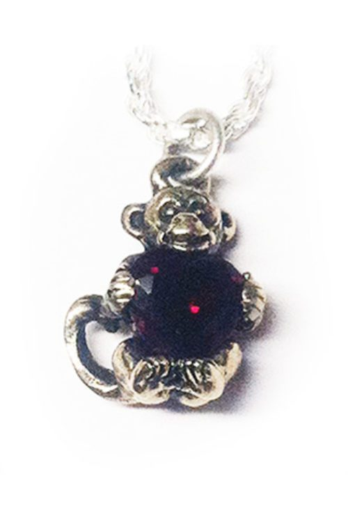Baby Monkey With Heart Silver Pendant