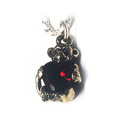 Baby Monkey With Heart Silver Pendant 2
