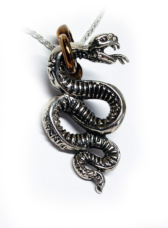 Snake Gyurza Silver Pendant 4