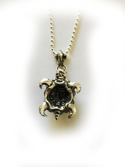 Turtle With Ruby Silver Pendant 2