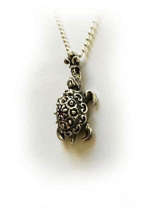 Turtle With Ruby Silver Pendant 3
