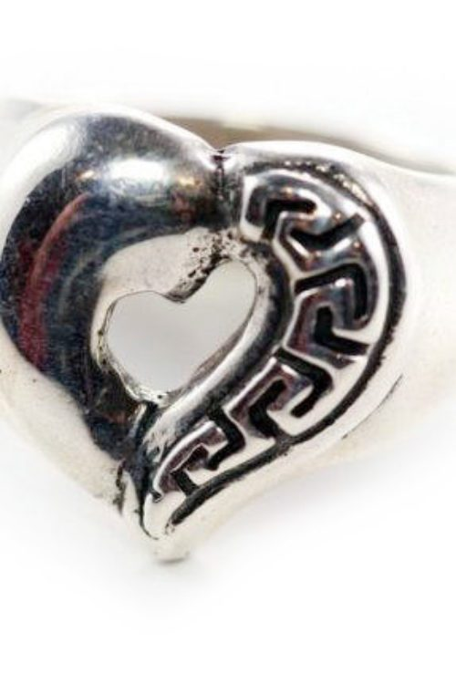 Patterns Style Heart Sterling Silver Ring