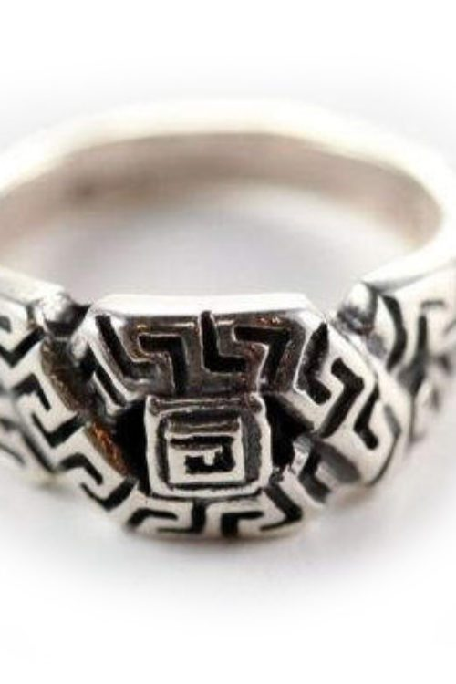 Heart Patterns Style Square Sterling Silver Ring