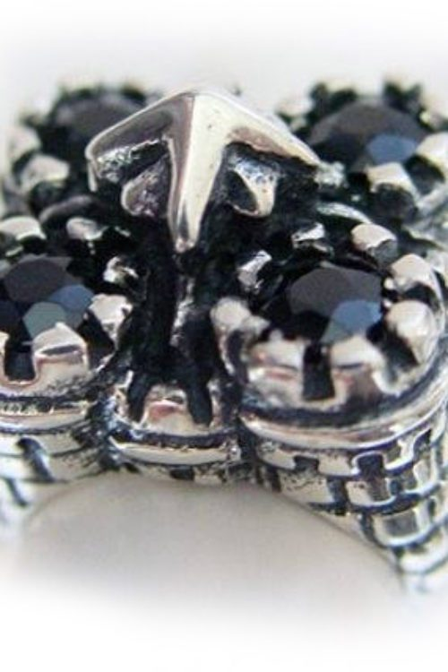 Castle Sterling Silver Ring with Black Stones