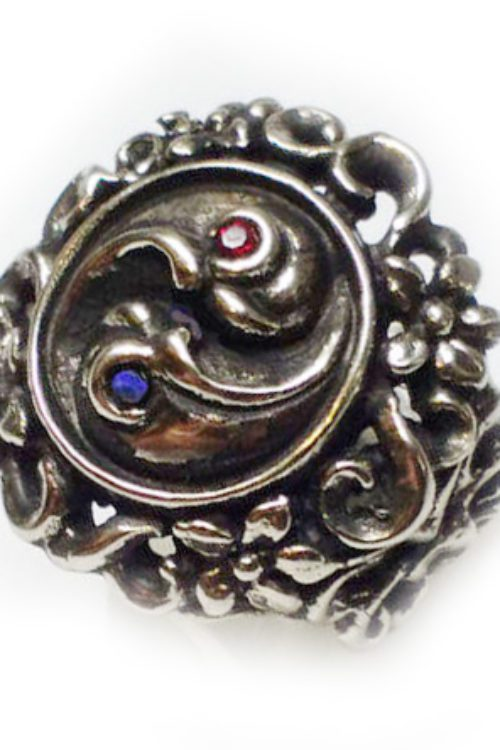 Yin Yang With Flowers Silver Ring
